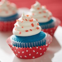 Firecracker Cupcakes: Uses one package of Pillsbury Funfetti Aqua Blue Cupcake & Cake Mix, red cupcake liners and white frosting.