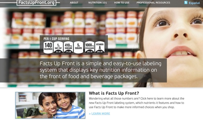 Facts up Front home page