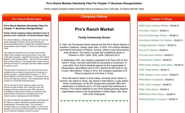 Pro's Ranch informational site regarding Chapter 11 filing