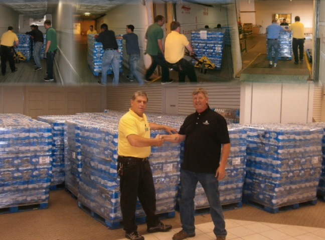 Water donation by Affiliated Foods Midwest