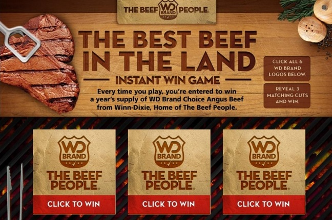 Winn-Dixie Beef instant win game via Facebook