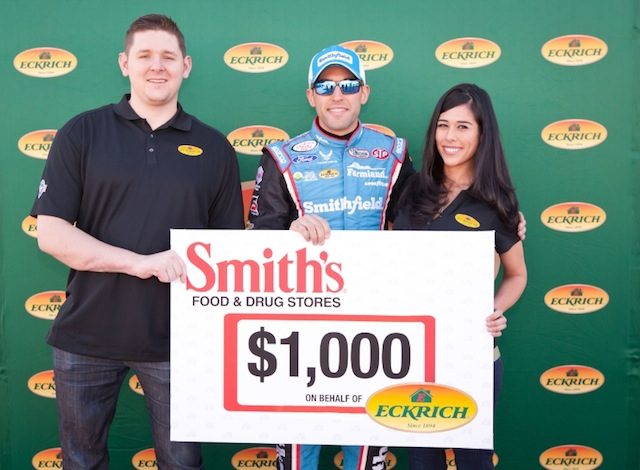 Retired Army Specialist Blaine Sullivan and his family were honored by NASCAR driver Aric Almirola and Eckrich on Saturday before the race at Las Vegas Motor Speedway.