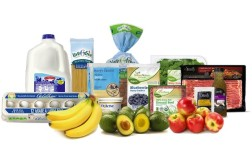 Selection of ALDI private label grocery products.