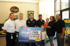 Eckrich on Aug. 4 hosted NASCAR driver Aric Almirola at Kroger's headquarters to surprise retired Army Spc. John Dietz and his family with one year of free groceries at Kroger.