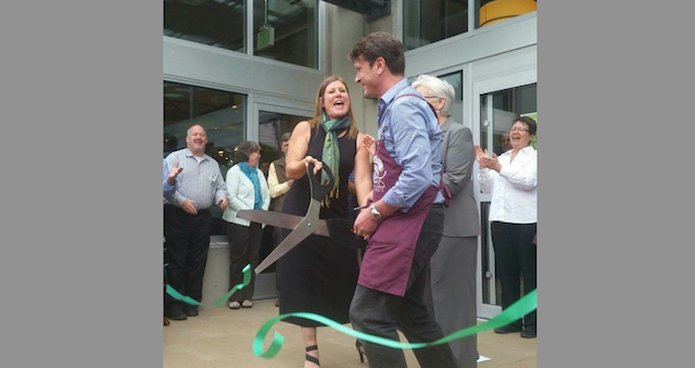 PCC Natural Markets CEO Cate Hardy and # Columbia City PCC Store Director Scott McCormick cut the ceremonial ribbon on the new store.
