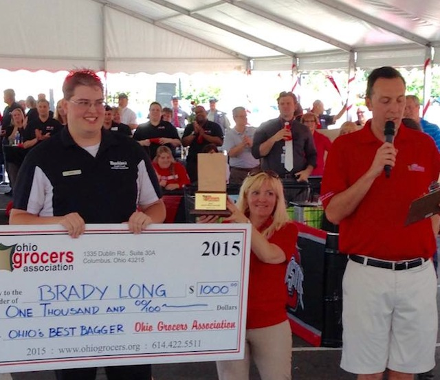 Brady Long, representing Buehler's Food Markets in Wooster, Ohio, claimed Ohio's Best Bagger title at the 2015 Ohio Best Bagger Contest Aug. 11.