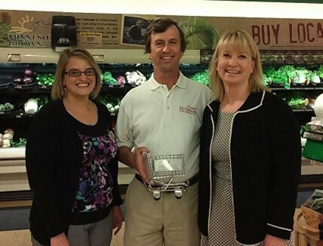 Mary Kruck, Coborn's; Rep. Denny McNamara; and Jamie Pfuhl, president, Minnesota Grocers Association.