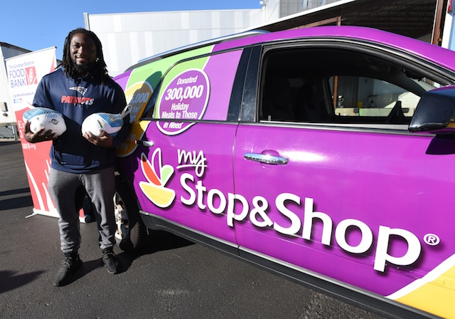 New England Patriots running back LeGarrette Blount teamed with Stop & Shop to deliver more than 7,000 turkeys to the Greater Boston Food Bank as part of the supermarket's Turkey Express program.