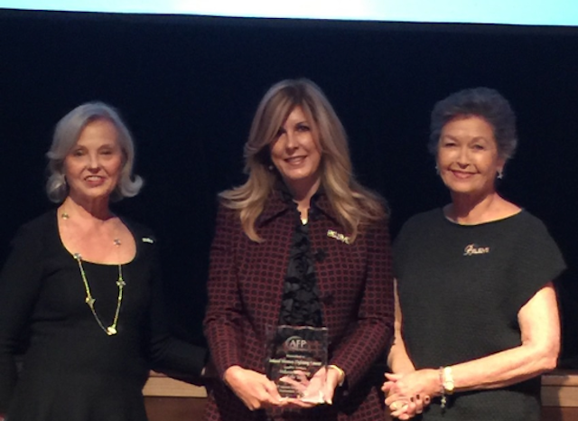 Inland Women Fighting Cancer co-chairs Nancy Varner, Annie Sellas and Cathy Stockton accept the 2015 Volunteer Group of the Year Award on behalf of their membership. The group was lauded at the Association of Fundraising Professionals' recent luncheon in The Mission Inn in California.