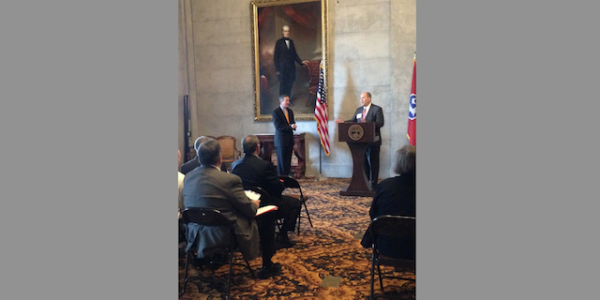 TGCSA's Rob Ikard, speaking, with Tennessee Secretary of State Tre Hargett.