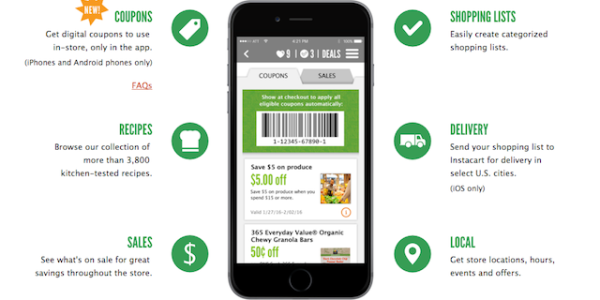 WFM mobile app coupons