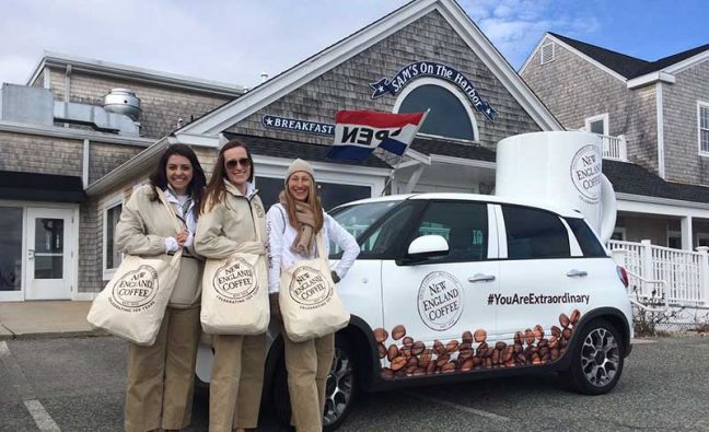 New England Coffee ambassadors Kylie Davis, Emma Zamierowski and Caitlin Gibson have beentraveling throughout New England—visiting restaurants, retailers and community locations—to thank the people who drink and serveNew England Coffee. The initiative is part of theyear-long #YouAreExtraordinary Tour.