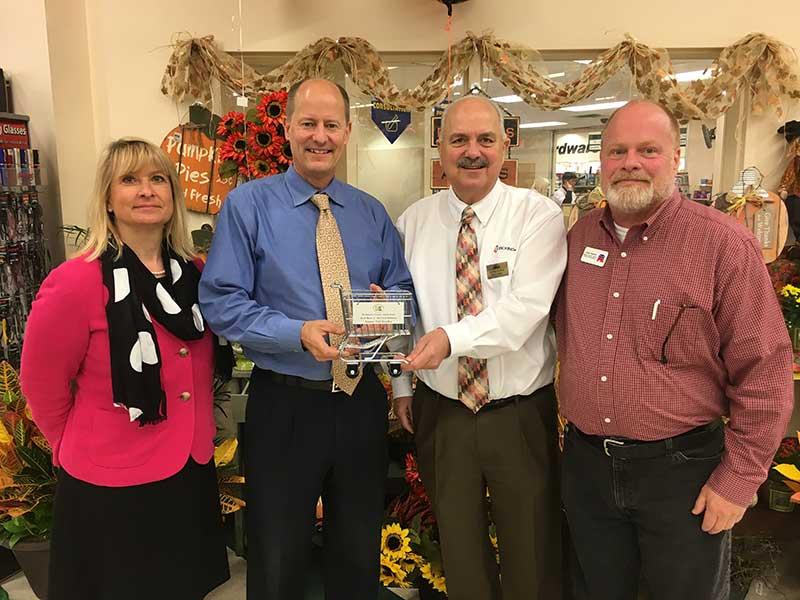 Jamie Pfuhl, president, Minnesota Grocers Association; Sen. Paul Gazelka (R-Nisswa); Greg Zylka, Coborn's Superstore; and House Legislative candidate John Poston (R-Lake Shore).