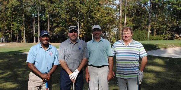 The morning first place team included Joe Cribbs, NFLPA; Bill Davis, A&R Supermarkets; John-Gross, Mrs. Stratton's Salads; and Steve Mulford, Royal Foods.