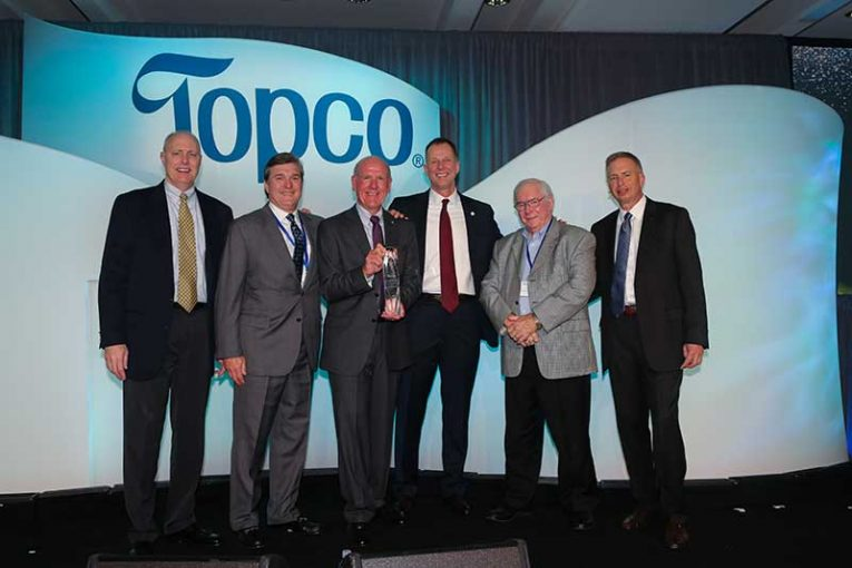 Greg Sparks, SVP and COO, K-VA-T Food Stores; Dan Glei, EVP, merchandising and marketing, K-VA-T; Steve Smith, president and CEO, K-VA-T; Jim Goers, SVP, member development and national brands, Topco Associates; Jesse Lewis, EVP and COO (retired), K-VA-T; and Randy Skoda, president and CEO, Topco.