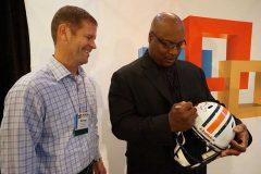 George Eversman of Dot Foods won the raffle for a Bo Jackson-autographed Auburn helmet.