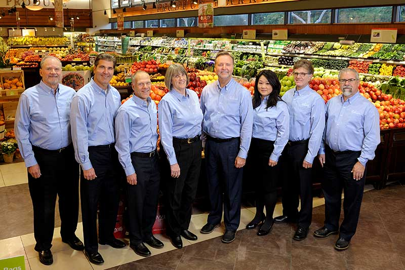 The Gelson's executive team, from left: Dale Brazdis, SVP-fresh; John Hammack, CFO; John Bagan, chief merchandising officer; Tyndall, SVP-store operations; Rob McDougall, president and CEO; Hee-Sook Nelson, VP of team development and public affairs; Doug Freund, VP of IT; and Tom Frattali, SVP of center store and distribution.
