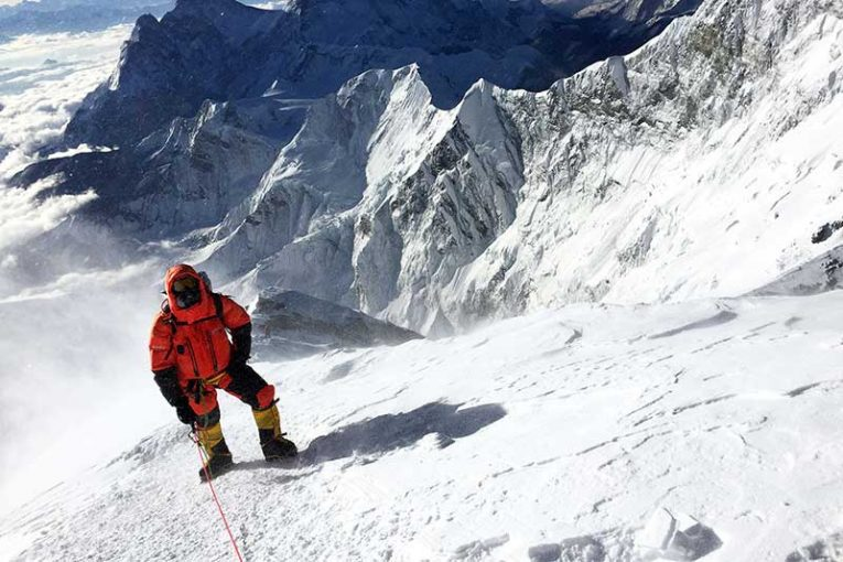 John Stenderup ascending Mt. Everest.