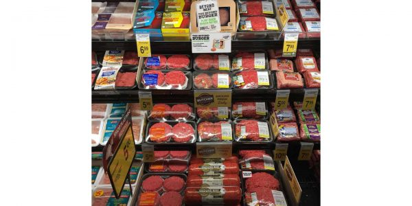 The Beyond Burger stocked in the meat case at Safeway.
