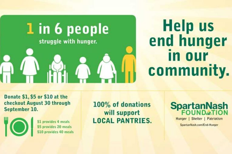 SpartanNash hunger relief graphic