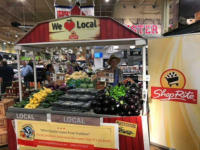 The local stand at the ShopRite of Greater Morristown includes Jersey Fresh squash, peppers, eggplant, blueberries, cantaloupe, cucumbers, corn, honey and more.
