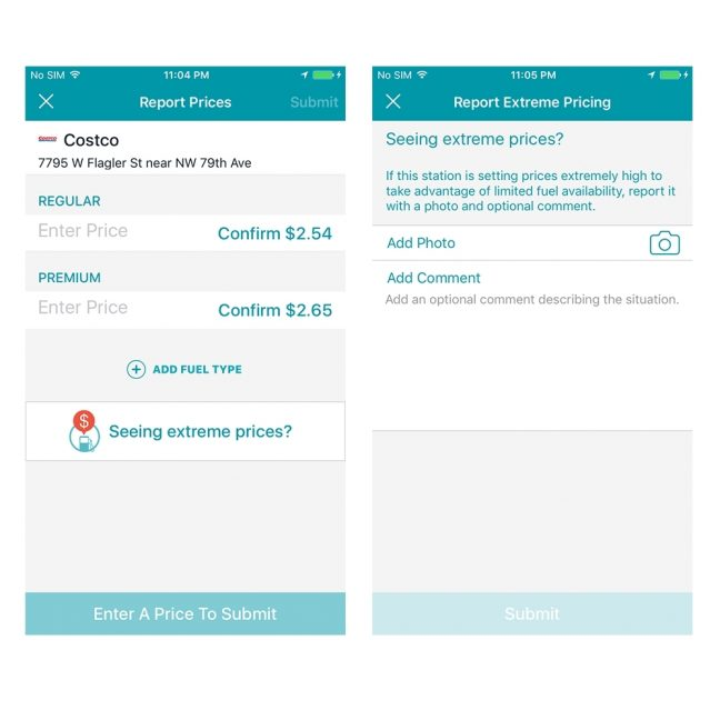 GasBuddy extreme pricing app feature