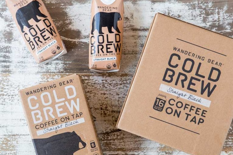 Wandering Bear cold brew coffee in a variety of packaging sizes