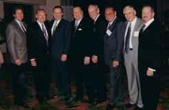 One of Kevin Davis' favorite photos is from 1996, when he was the newly named president of Bristol Farms. At a City of Hope event, these industry legends—presidents and CEOs of western food retailers—invited him to pose for a photo with them. From left: Kevin Davis; Byron Allumbaugh and Al Marasca, Ralphs; Jack Brown, Stater Bros.; Larry Del Santo, Bill Davila and Dick Goodspeed, Vons; Don Baker, Stater Bros.