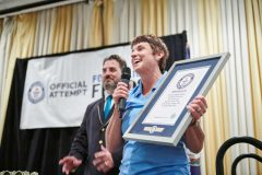 Food Lion President Meg Ham holds the official award after Food Lion set its Guinness World Record.