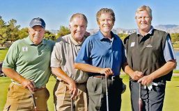 This foursome teamed up every year at the California Grocers Association annual convention for many years. From left: Jerry Whitmore, Nestlé/Dreyers; Bob Stiles, Gelson's; Kevin Davis, Bristol Farms; and Mike Stamper, Nestlé.
