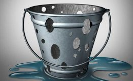 A bucket with holes