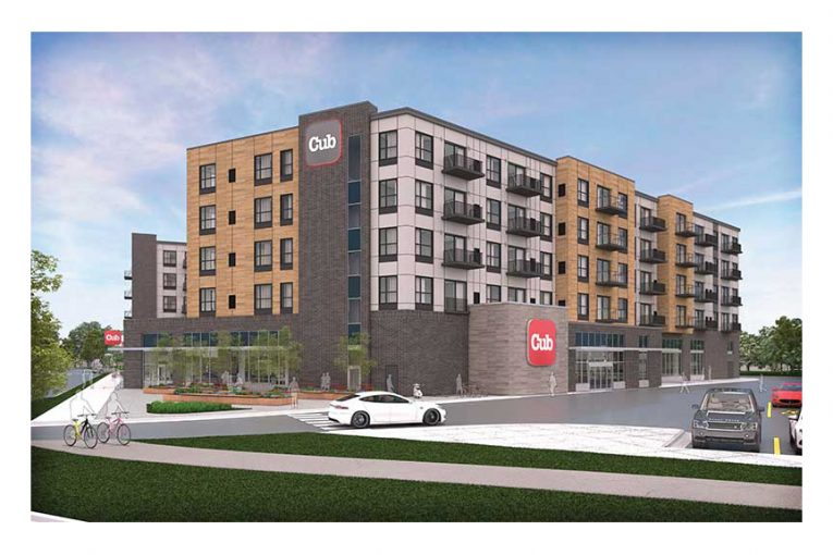 A rendering of Cub's Minneapolis mixed-use development store