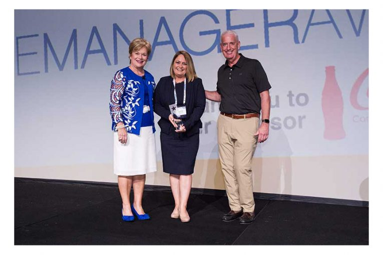 Leslie G. Sarasin; Joanne Walkerl and Joe Sheridan, Wakefern, FMI Chairman.