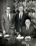 """From left, S.W. """"Woody"""" Brookshire, Bruce Brookshire and W.T. Brookshire (founder) in 1969."""