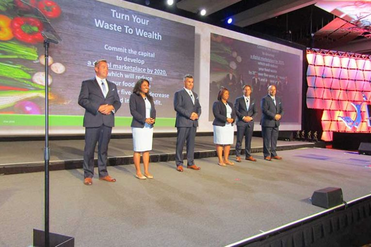 "Team ""Waste to Wealth,"" from left: Chad Bersie, Cub Foods; Anuradha Raja, Mondelez; Mario Cruz, Costco; Ria Gray, Supervalu; Colin Cavanaugh, Niagara Bottling; and Robert Ascencio, Northgate Gonzalez Markets."