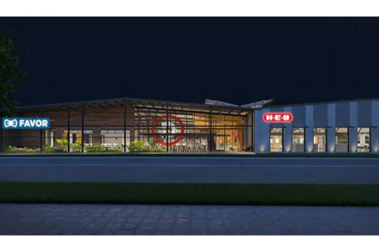 A rendering of the front of H-E-B's planned innovation center