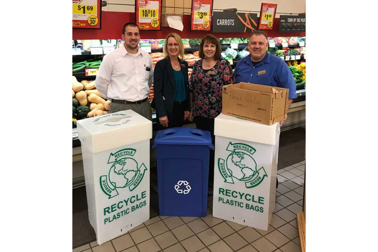 Customer Operations Manager Graham Musselwhite, Store Manager Andrea Doygun, Assistant Store Manager Judy Knarr, and Non-Perishable Manager Bob Stauffer Jr.