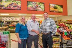 Dana Sowards; Scott Newsted, DeJarnett; and Ed Sowards on grand opening day in Pagosa Springs.