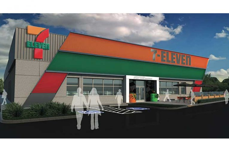 A rendering of 7-Eleven's Texas Motor Speedway store