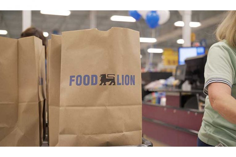 A closeup of a Food Lion shopping bag at checkout