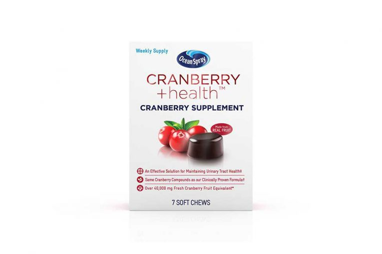 A box of Ocean Spray's cranberry supplements.