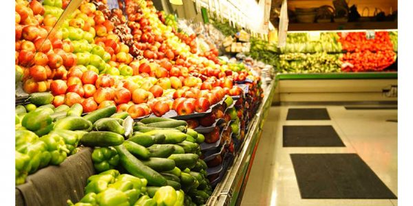 A produce section of a grocery store.