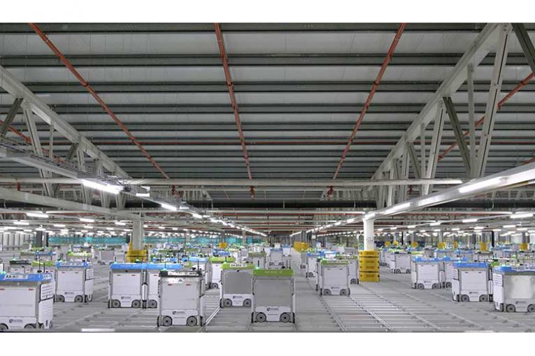 A picture of robots inside one of Ocado's fulfillment centers