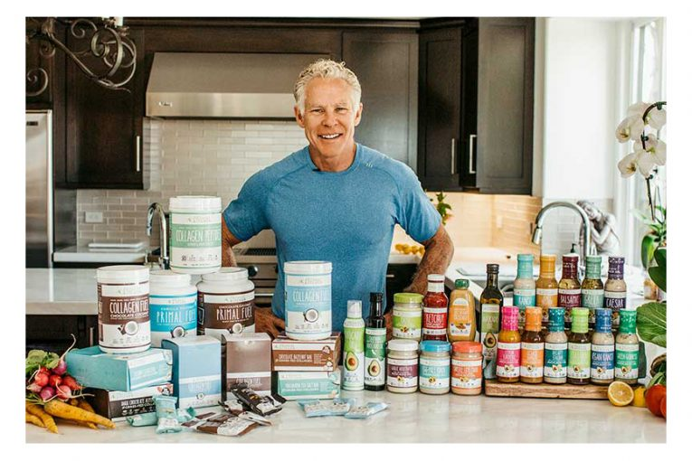 Mark Sisson with Primal Kitchen's full product line.