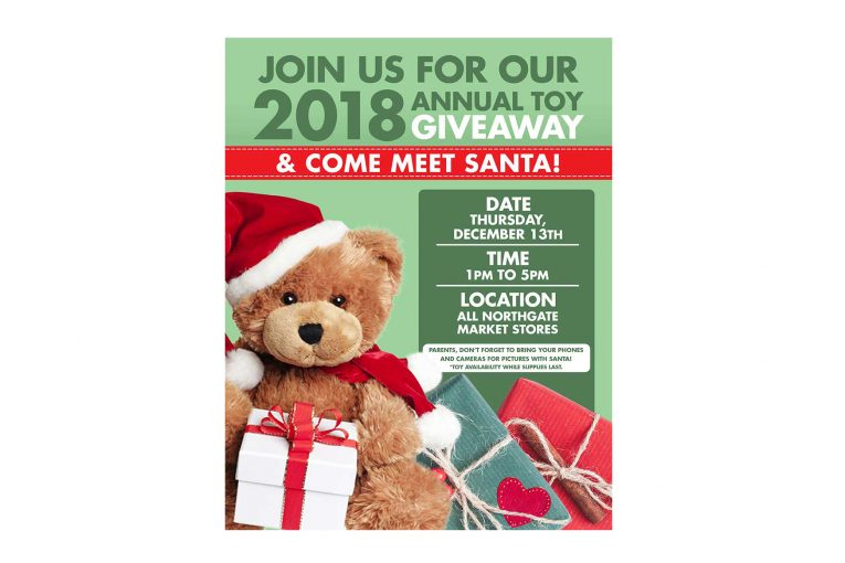 A promotional poster for Northgate's toy giveaway.
