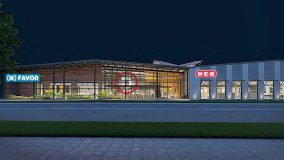 A rendering of the front of H-E-B's planned innovation center.