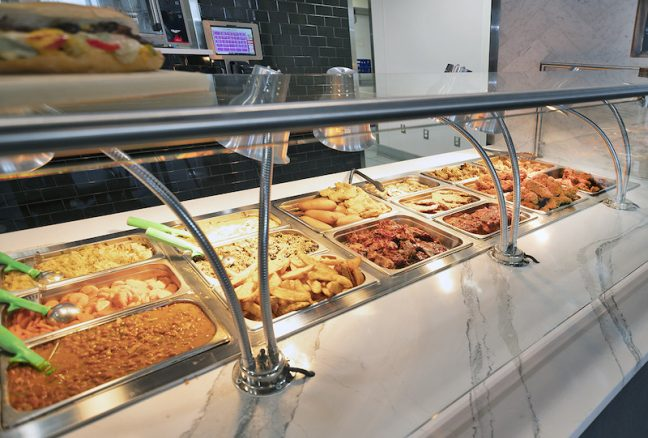Hot food offerings at Rogers Market.